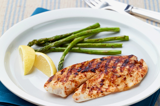Lemony Tilapia and Asparagus Grill