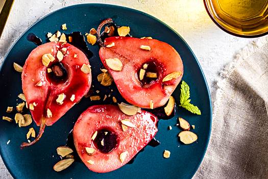 Photo of prepared recipe Poached Pears with Pomegranate Sauce