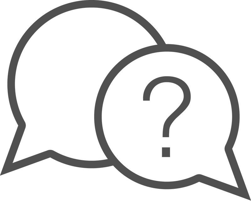 Line drawing graphic of a speech bubble with question mark