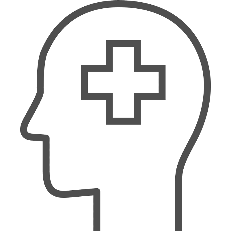 Line drawing graphic of a head with medical symbol