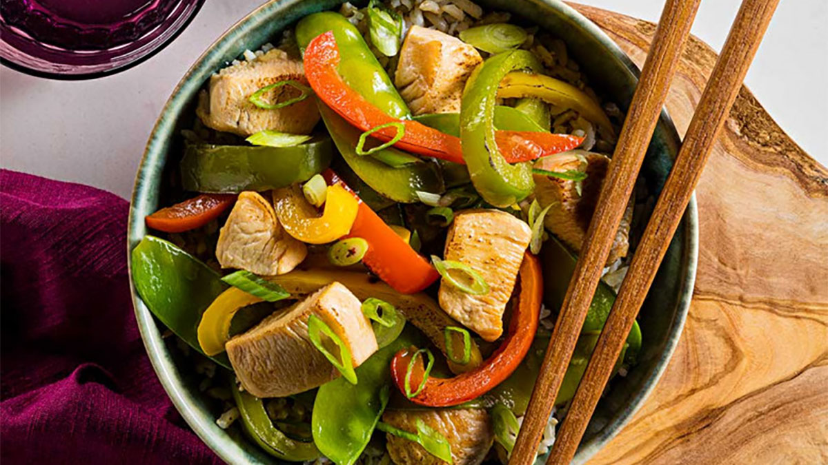 Chicken Stir-Fry with Snow Peas and Mixed Bell Peppers Recipe